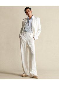 Ralph Lauren - RALPH LAUREN - Białe lniane spodnie. Kolor: biały. Materiał: len