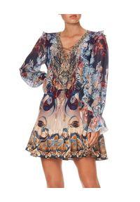 Camilla - CAMILLA - Wzorzysta sukienka Nouveau Nights. Kolor: brązowy. Materiał: jedwab, koronka. Wzór: kwiaty, koronka, aplikacja, nadruk