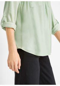 Bluzka z wiskozy z dekoltem w serek, długi rękaw bonprix kemowy szałwiowy. Typ kołnierza: dekolt w serek. Kolor: zielony. Materiał: wiskoza. Długość rękawa: długi rękaw. Długość: długie