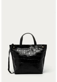 Czarna shopperka Answear Lab skórzana, duża, na ramię