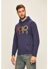 Niebieska bluza nierozpinana Polo Ralph Lauren z kapturem, z nadrukiem
