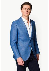 Lancerto - Marynarka Niebieska Patras. Okazja: na co dzień. Kolor: niebieski. Materiał: tkanina, len, bawełna. Sezon: lato, wiosna. Styl: casual, elegancki