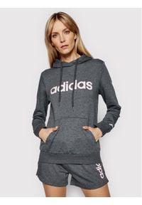 Adidas - adidas Bluza W Lin Ft Hd GL0639 Szary Regular Fit. Kolor: szary