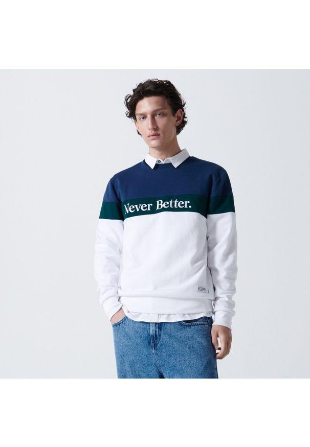 Cropp - Bluza z napisem - Biały. Kolor: biały. Wzór: napisy