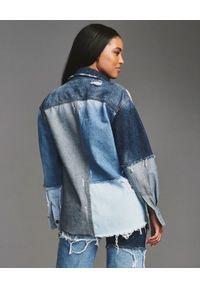 RETROFETE - Patchworkowa koszula jeansowa. Kolor: niebieski. Materiał: jeans. Długość rękawa: długi rękaw. Długość: długie #6