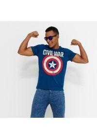 House - T-shirt Kapitan Ameryka - Niebieski. Kolor: niebieski
