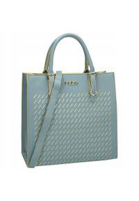 Nobo - Torebka damska błękitna NOBO NBAG-I1400-C012. Kolor: niebieski. Materiał: skórzane. Styl: klasyczny, elegancki, casual. Rodzaj torebki: do ręki