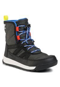 Szare buty zimowe sorel na spacer, z cholewką