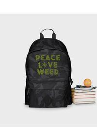 MegaKoszulki - Plecak moro Peace Love Weed. Materiał: poliester. Wzór: moro