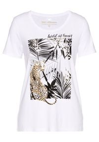 T-shirt z przyjaznej dla środowiska wiskozy bonprix biało-czarno-złoty z nadrukiem. Kolor: biały. Materiał: wiskoza. Wzór: nadruk