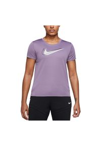 Koszulka damska do biegania Nike Dri Swoosh DD4898. Materiał: dzianina, materiał, włókno, skóra, poliester. Technologia: Dri-Fit (Nike). Wzór: aplikacja, nadruk. Sport: bieganie