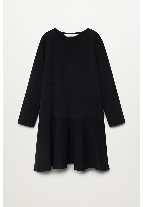 Czarna sukienka Mango Kids rozkloszowana, mini, z długim rękawem