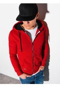 Ombre Clothing - Bluza męska rozpinana z kapturem B1223 - czerwona - XXL. Typ kołnierza: kaptur. Kolor: czerwony. Materiał: bawełna, poliester