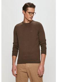 Hugo - Sweter. Okazja: na co dzień. Kolor: brązowy. Materiał: dzianina. Długość rękawa: długi rękaw. Długość: długie. Styl: casual