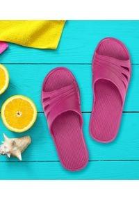 REALPAKS - Klapki damskie Realpaks SLJ-13 Różowe. Okazja: na plażę. Kolor: różowy. Materiał: tworzywo sztuczne. Sezon: lato. Obcas: na obcasie. Wysokość obcasa: niski