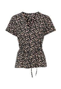 Czarna bluzka Happy Holly w kwiaty, z krótkim rękawem