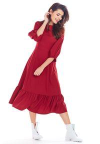 e-margeritka - Sukienka rozkloszowana midi z falbaną - l, bordo. Okazja: do pracy. Materiał: tkanina, poliester, elastan. Typ sukienki: dopasowane. Styl: elegancki. Długość: midi