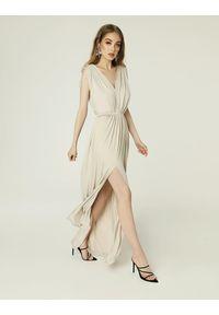 Madnezz - Sukienka Greta - jasny beż. Kolor: beżowy. Materiał: wiskoza, dzianina, elastan
