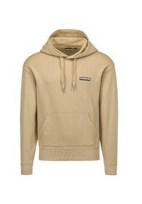 Napapijri - Bluza NAPAPIJRI B-PATCH H S. Typ kołnierza: kaptur. Kolor: beżowy. Materiał: bawełna, prążkowany. Wzór: jednolity
