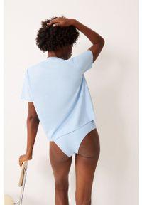 Undiz - Komplet piżamowy - T-shirt i figi COUPLESTITCHIZ. Kolor: niebieski. Materiał: bawełna, dzianina. Długość: krótkie. Wzór: nadruk