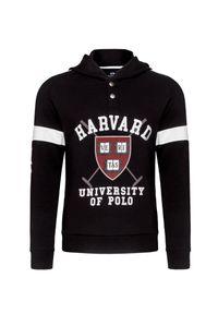 Czarna bluza La Martina z kapturem, w kolorowe wzory