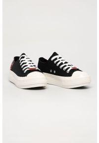 Czarne tenisówki Guess Jeans z cholewką, na sznurówki, z okrągłym noskiem