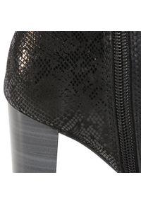 Czarne botki Caprice na średnim obcasie, na obcasie