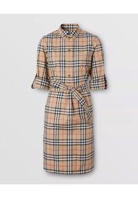 Beżowa sukienka Burberry w kratkę, z długim rękawem, klasyczna