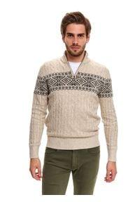 TOP SECRET - Sweter ze stójką we wzór. Typ kołnierza: kołnierzyk stójkowy. Kolor: beżowy. Materiał: tkanina, wełna. Długość: długie. Sezon: zima