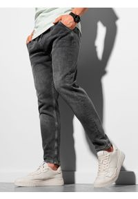 Ombre Clothing - Spodnie męskie joggery P1057 - grafitowe - XXL. Kolor: szary. Materiał: bawełna, elastan