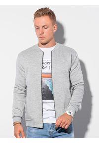 Ombre Clothing - Bluza męska rozpinana z dzianiny strukturalnej B1214 - szara - XXL. Okazja: na co dzień. Typ kołnierza: kołnierzyk stójkowy. Kolor: szary. Materiał: dzianina. Styl: casual