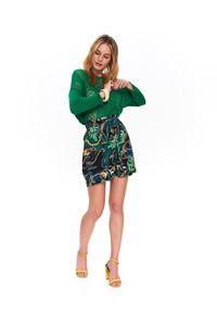 Zielony sweter TOP SECRET długi, na co dzień, na zimę, w ażurowe wzory