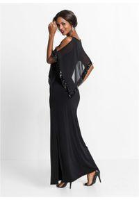 Sukienka maxi z cekinami bonprix czarny. Kolor: czarny. Styl: wizytowy. Długość: maxi