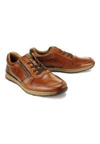 Rieker - RIEKER B2510-26 brown, półbuty męskie. Zapięcie: zamek. Kolor: brązowy. Materiał: skóra. Szerokość cholewki: normalna