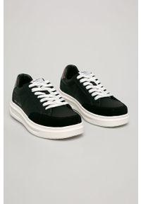 Czarne buty sportowe Pepe Jeans z okrągłym noskiem, na sznurówki, z cholewką