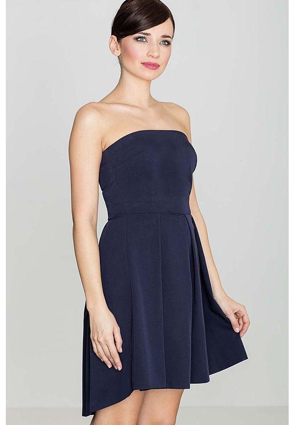 Niebieska sukienka Katrus z gorsetem, gorsetowa, elegancka