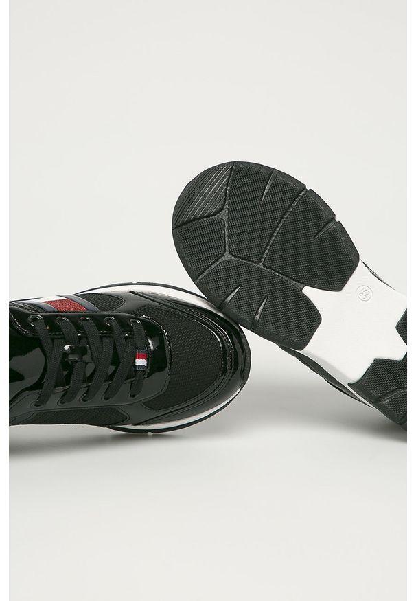 Czarne buty sportowe TOMMY HILFIGER z cholewką, na sznurówki, z okrągłym noskiem
