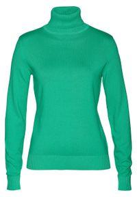 Sweter z golfem bonprix zieleń trawiasta. Typ kołnierza: golf. Kolor: zielony