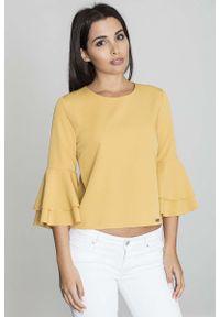 Żółta bluzka hiszpanka Figl krótka