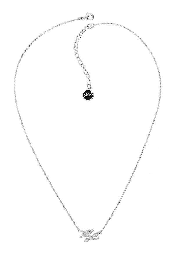 Srebrny naszyjnik Karl Lagerfeld z kryształem, z mosiądzu