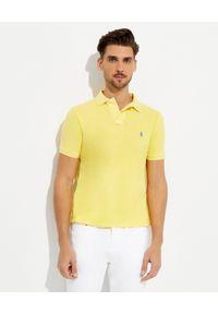 Ralph Lauren - RALPH LAUREN - Żółta koszulka polo Custom Slim Fit. Typ kołnierza: polo. Kolor: żółty. Materiał: bawełna, prążkowany. Wzór: haft