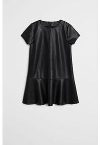 Czarna sukienka Mango Kids rozkloszowana, mini, z krótkim rękawem #3