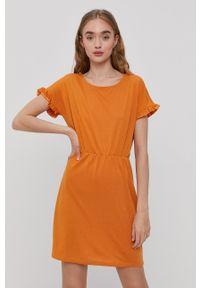 Jacqueline de Yong - Sukienka. Okazja: na co dzień. Kolor: żółty. Materiał: dzianina. Długość rękawa: krótki rękaw. Wzór: gładki. Typ sukienki: proste. Styl: casual