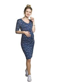 e-margeritka - Sukienka ciążowa ołówkowa w kwiaty - m. Okazja: na co dzień. Kolekcja: moda ciążowa. Materiał: wiskoza, dzianina, materiał, elastan. Wzór: kwiaty. Typ sukienki: ołówkowe. Styl: casual