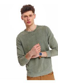 TOP SECRET - Bluza z efektem oprania. Kolor: zielony. Materiał: materiał. Długość rękawa: długi rękaw. Długość: długie. Sezon: wiosna. Styl: klasyczny, wakacyjny
