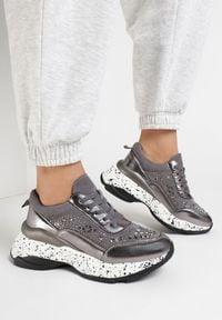 Born2be - Szare Sneakersy Pidenho. Kolor: szary