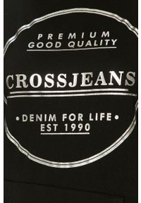 Czarna sukienka Cross Jeans na co dzień, z nadrukiem, mini