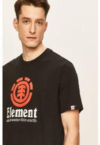 Czarny t-shirt Element casualowy, z nadrukiem