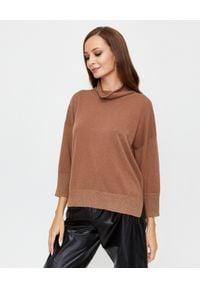 PESERICO - Brązowy sweter ze stójką. Typ kołnierza: kołnierzyk stójkowy. Kolor: brązowy. Materiał: wełna, jedwab, jeans. Sezon: jesień, zima