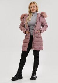 Born2be - Różowa Kurtka Morra. Kolekcja: plus size. Kolor: różowy. Materiał: tkanina, futro, jeans. Długość rękawa: długi rękaw. Długość: długie. Wzór: aplikacja